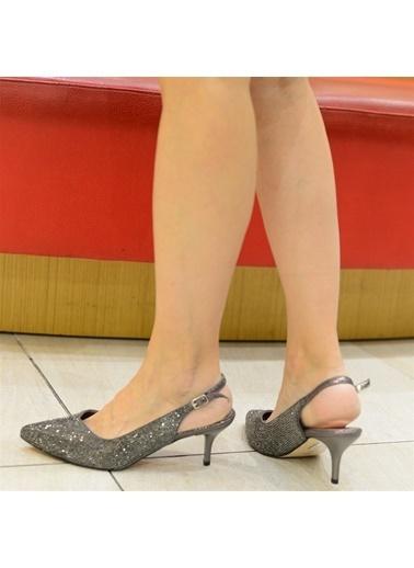 La scada Mr5283 Antrasıt Kadın Abıye Ayakkabı Antrasit